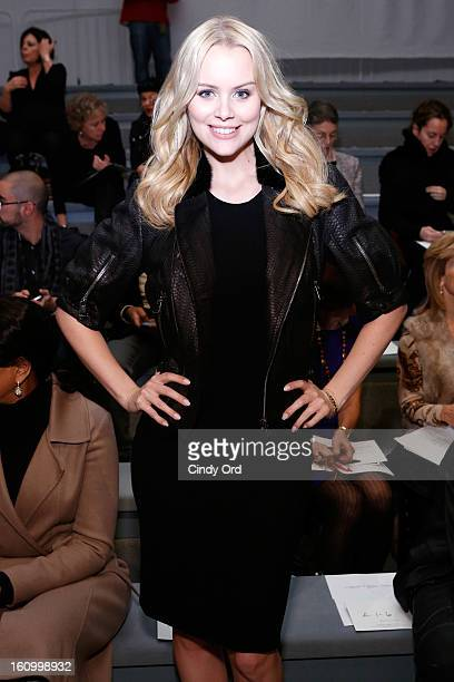 Actress Helena Mattsson attends the Carmen Marc Valvo Fall 2013 fashion show during MercedesBenz Fashion Week at The Stage at Lincoln Center on...