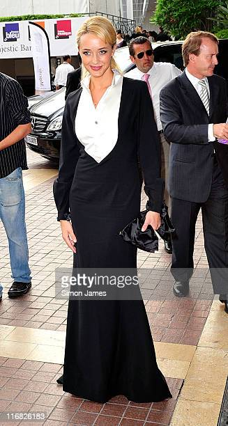 Actress Helene de Fougerolles leaves the Majestic hotel on May 21, 2009 in Cannes, France.