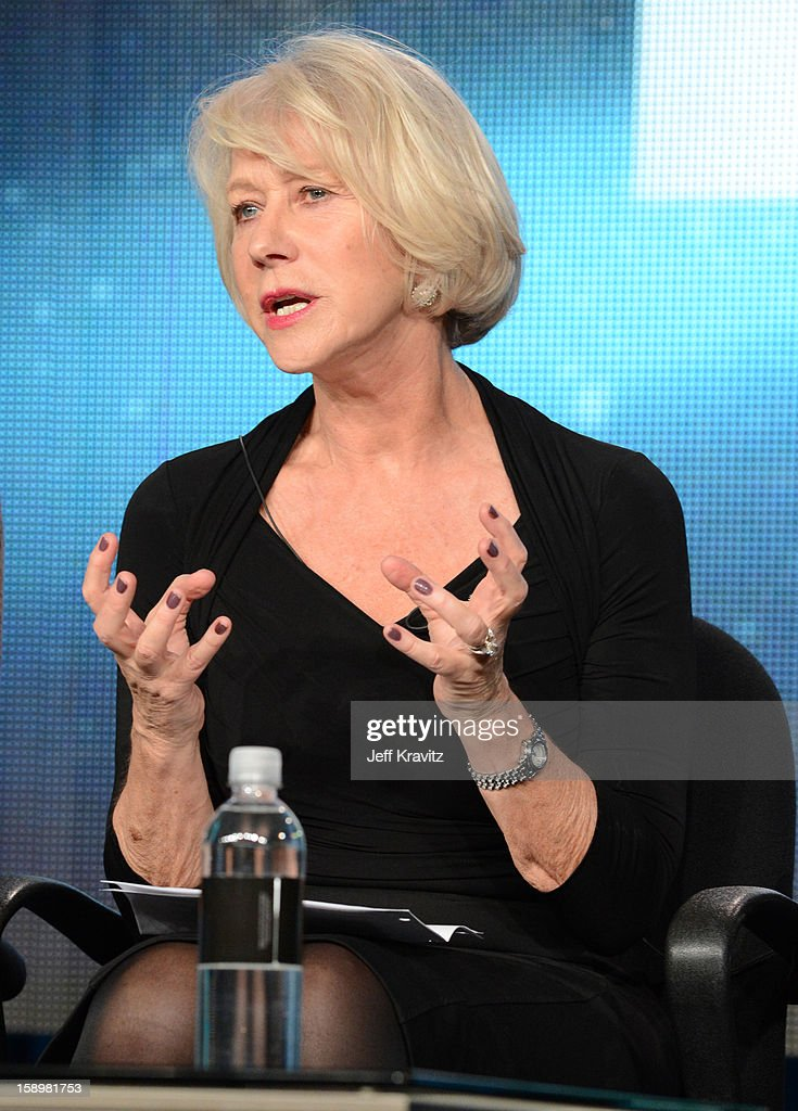 Actress Hellen Mirren speaks about the new HBO Film 'Phil Spector' during the HBO Winter 2013 TCA Panel at The Langham Huntington Hotel and Spa on January 4, 2013 in Pasadena, California.
