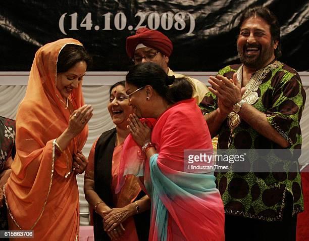 Actress Hema Malini political leader Sushma Swaraj actor Vinod Khanna and Rajasthan Cheif Minister Vasundhara Raje attends the Muhurat function of EK...