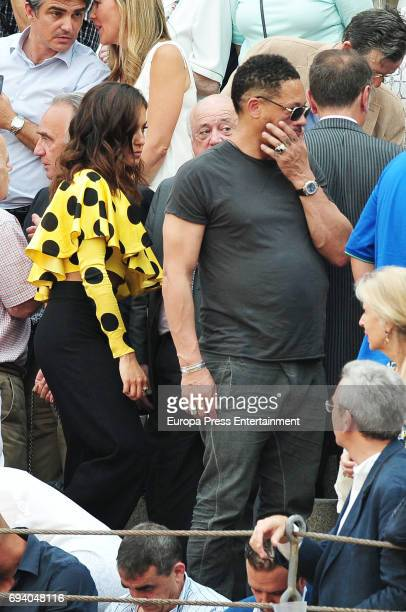 Actress Hiba Abouk and JoeyStarr are seen during a bullfighting of San Isidro Fair at Las Ventas bullring on June 1 2017 in Madrid Spain
