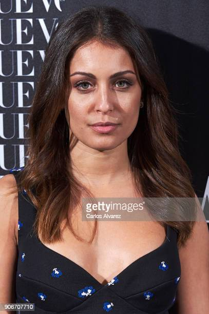 Actress Hiba Abouk attends a dinner in honor of Victoria Beckham organized by Vogue at the Santo Mauro Hotel on January 18 2018 in Madrid Spain