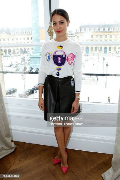Actress Hiba Abouk attends the Schiaparelli Haute Couture Fall/Winter 20172018 show as part of Haute Couture Paris Fashion Week on July 3 2017 in...