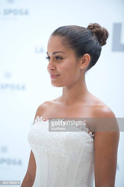 Actress Hiba Abouk wedding dresses to present the new collection of wedding dresses Sposa firm in Madrid