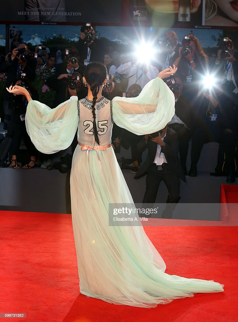 Actress Hikari Mitsushima of the cast of 'Traces Of Sin' attends the premiere of 'The Bad Batch' during the 73rd Venice Film Festival at Sala Grande on September 6, 2016 in Venice, Italy.