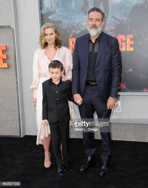 "Actress Hilarie Burton, actor Jeffrey Dean Morgan and son Augustus Morgan arrive for the Premiere Of Warner Bros. Pictures' ""Rampage"" held at..."