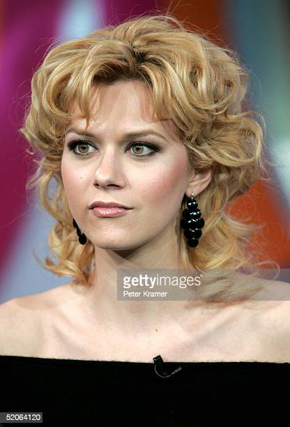 Actress Hilarie Burton from 'One Tree Hill' makes an appearance on MTV's Total Request Live January 25 2005 in New York City