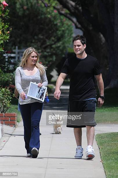 Actress Hilary Duff and boyfriend NHL star Mike Comrie sighting on July 10 2009 in Los Angeles California