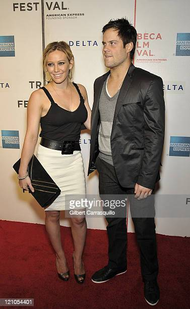Actress Hilary Duff and Mike Comrie attend the premiere of 'Stay Cool' during the 8th Annual Tribeca Film Festival at the BMCC Tribeca Performing...