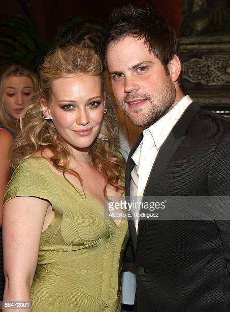 Actress Hilary Duff and NHL player Mike Comrie attend the Herve Leger by Max Azria Collection Launch party held at Live on Sunset on May 6 2009 in...