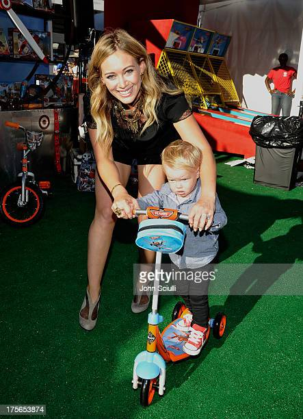 Actress Hilary Duff and son Luca Cruz Comrie at the worldpremiere of Disney's Planes presented by Target at the El Capitan Theatre on August 5 2013...