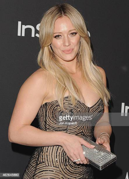 Actress Hilary Duff arrives at the 16th Annual Warner Bros And InStyle PostGolden Globe Party at The Beverly Hilton Hotel on January 11 2015 in...