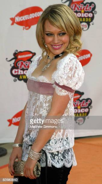 Actress Hilary Duff arrives at the 18th Annual Kids Choice Awards at UCLA's Pauley Pavillion on April 2 2005 in Westwood California