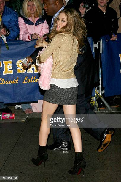 Actress Hilary Duff arrives for a taping of The Late Show With David Letterman at The Ed Sullivan Theater on November 9 2005 in New York City
