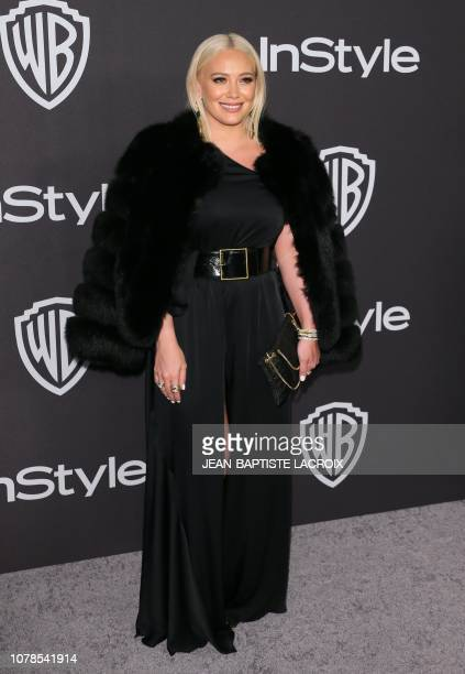 US actress Hilary Duff arrives for the Warner Bros and In Style 20th annual post Golden Globes party at the Oasis Courtyard of the Beverly Hilton...