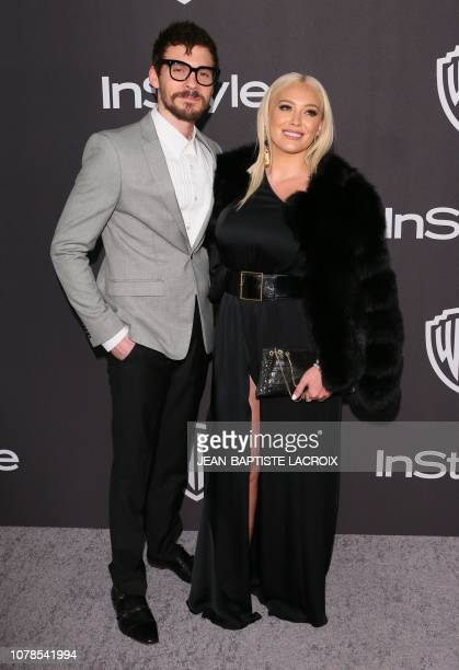 US actress Hilary Duff arrives with her partner US singer Matthew Koma for the Warner Bros and In Style 20th annual post Golden Globes party at the...