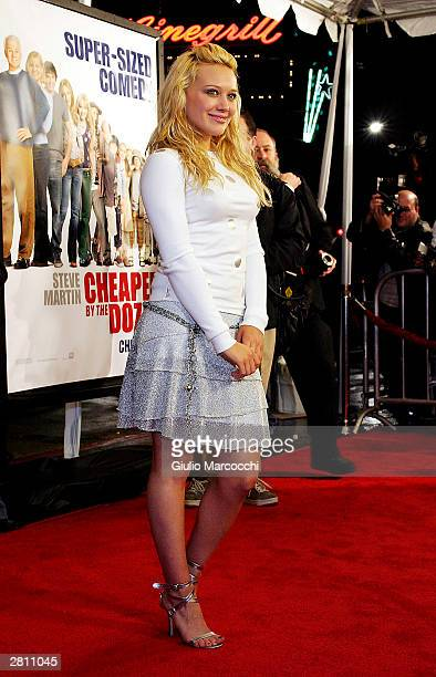 Actress Hilary Duff attends the Cheaper By The Dozen Premiere December 14 2003 in Hollywood California