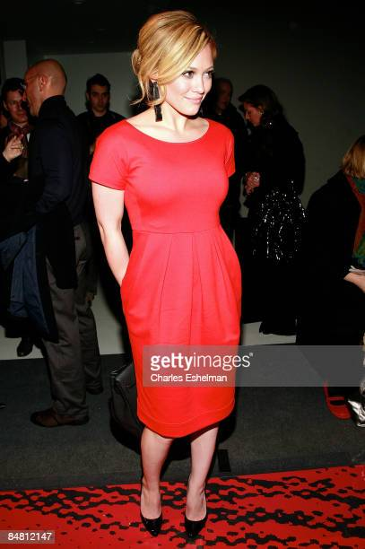 Actress Hilary Duff attends the DKNY Fall 2009 during Mercedes-Benz Fashion Week at 711 Greenwich Street on February 15, 2009 in New York City.