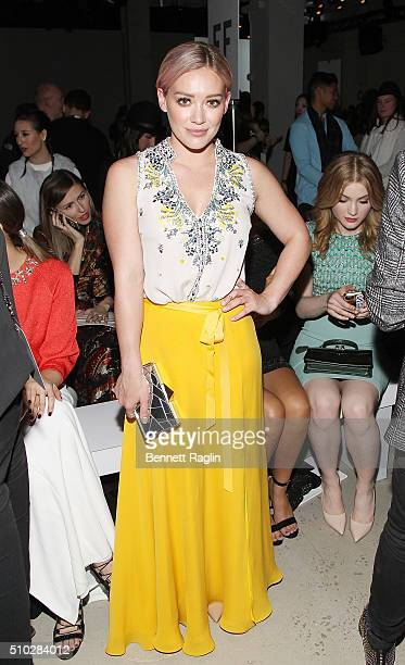 Actress Hilary Duff attends the Jenny Packham Fall 2016 New York Fashion Week The Shows at The Gallery Skylight at Clarkson Sq on February 14 2016 in...