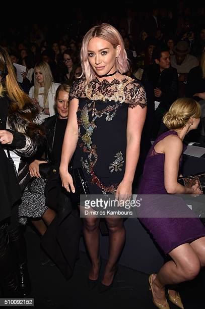 Actress Hilary Duff attends the Monique Lhuillier Fall 2016 fashion show during New York Fashion Week The Shows at The Arc Skylight at Moynihan...