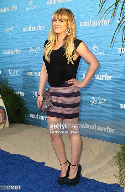 Actress Hilary Duff attends the premiere of TriStar Pictures' Soul Surfer at the ArcLight Cinerama Dome on March 30 2011 in Hollywood California