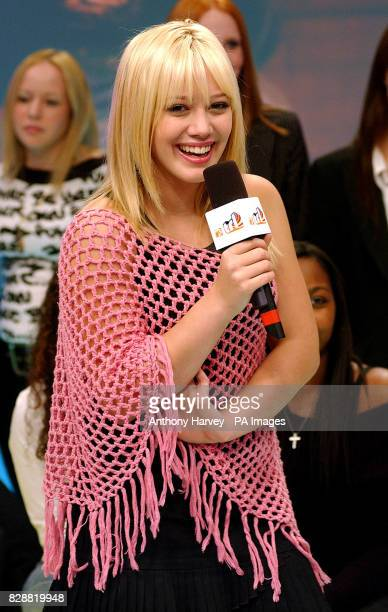 Actress Hilary Duff during her guest appearance on MTV's TRL UK at the MTV Studios in Camden north London