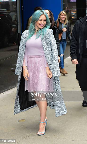"""Actress Hilary Duff is seen on """"Good Morning America"""" on March 30, 2015 in New York City."""
