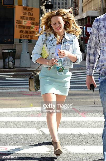 """Actress Hilary Duff is seen on the set of """"Younger"""" on October 9, 2014 in New York City."""