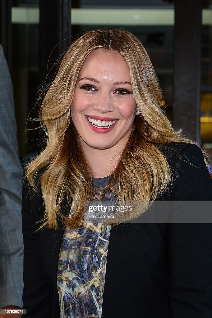 Actress Hilary Duff leaves the 'Good Day New York' taping at the Fox 5 Studios on May 2, 2013 in New York City.