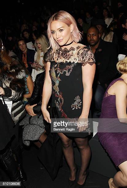 Actress Hilary Duff poses for a picture on the front row at Monique Lhuillier Fall 2016 New York Fashion Week at The Arc Skylight at Moynihan Station...