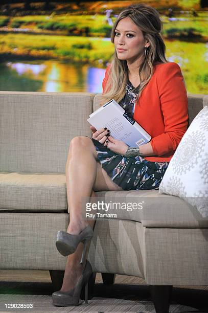 """Actress Hilary Duff tapes an interview at """"Good Morning America"""" at the ABC Times Square Studios on October 10, 2011 in New York City."""