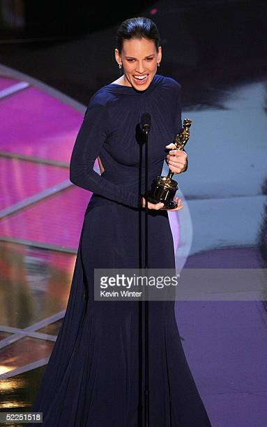TELECAST*** Actress Hilary Swank accepts her award for best actress in a leading role for her performance in 'Million Dollar Baby' on stage during...