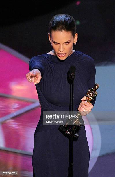 """Actress Hilary Swank accepts her award for best actress in a leading role for her performance in """"Million Dollar Baby"""" on stage during the 77th..."""