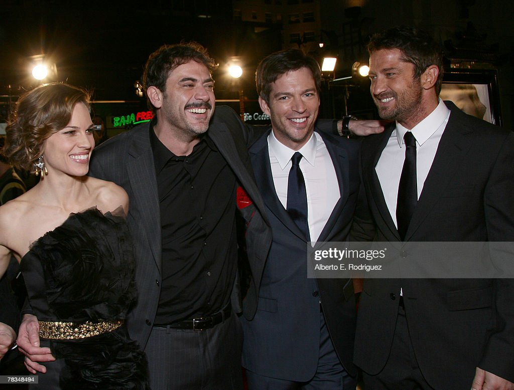 Actress Hilary Swank, actor Jeffrey Dean Morgan, actor Harry Connick Jr. and actor Gerard Butler arrive at the premiere of Warner Bros.' 'P.S. I Love You' held at Grauman's Chinese Theater on December 9, 2007 in Los Angeles, California.