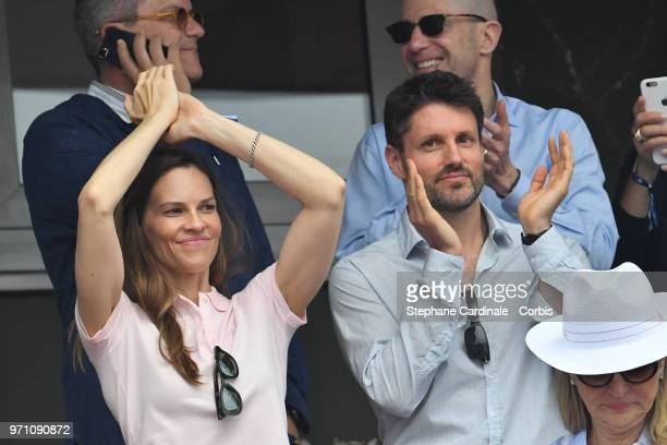 Actress Hilary Swank and boyfriend Philip Schneider attend the Men Final of the 2018 French Open Day Fifteen at Roland Garros on June 10 2018 in...