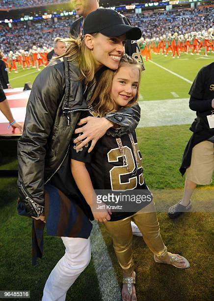 Actress Hilary Swank and Charlotte Connick are seen at Super Bowl XLIV at Sun Life Stadium on February 7, 2010 in Miami Gardens, Florida.