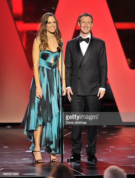 Actress Hilary Swank and Mark Zuckerberg speak onstage during the 2016 Breakthrough Prize Ceremony on November 8 2015 in Mountain View California