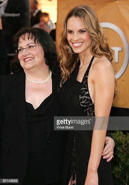 Actress Hilary Swank and mother Judy Swank arrive at the 11th Annual Screen Actors Guild Awards at the Shrine Exposition Center on February 5, 2005...