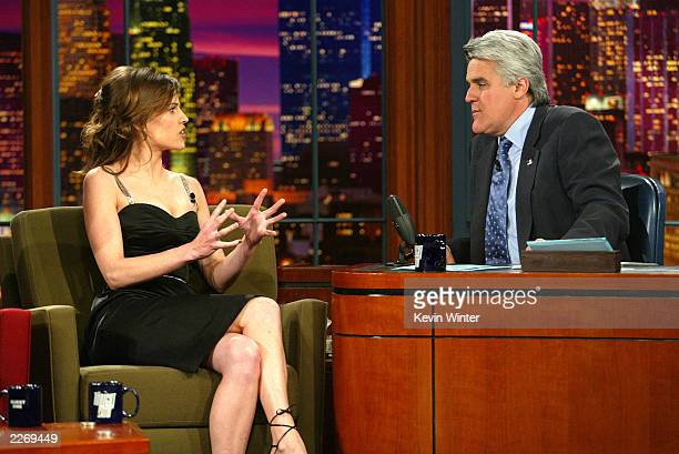 Actress Hilary Swank appears on The Tonight Show with Jay Leno at the NBC Studios on March 25 2003 in Burbank California