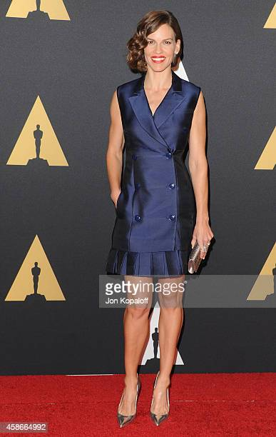 Actress Hilary Swank arrives at the Academy Of Motion Picture Arts And Sciences' Governors Awards at The Ray Dolby Ballroom at Hollywood Highland...
