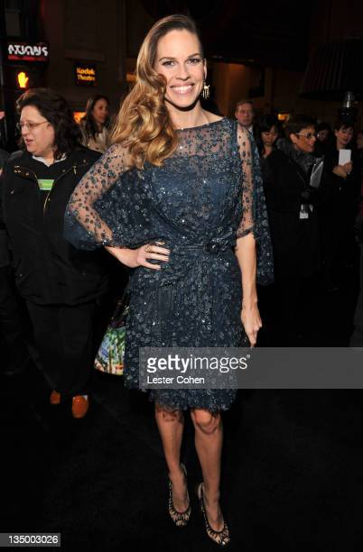 Actress Hilary Swank arrives at the Los Angeles premiere of New Year's Eve at Grauman's Chinese Theatre on December 5 2011 in Hollywood California