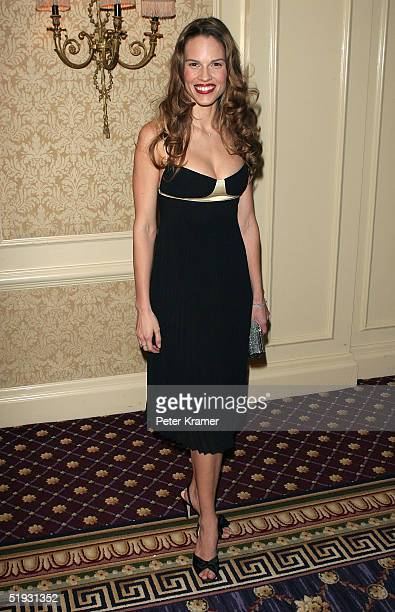 Actress Hilary Swank arrives at the New York Film Critics Dinner at the Roosevelt Hotel January 9 2005 in New York City