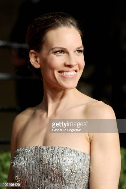 Actress Hilary Swank arrives at the Vanity Fair Oscar party hosted by Graydon Carter held at Sunset Tower on February 27 2011 in West Hollywood...