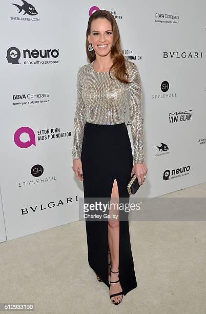 Actress Hilary Swank attends Neuro at the 24th Annual Elton John AIDS Foundation's Oscar Viewing Party at The City of West Hollywood Park on February...