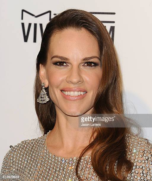 Actress Hilary Swank attends the 24th annual Elton John AIDS Foundation's Oscar viewing party on February 28 2016 in West Hollywood California