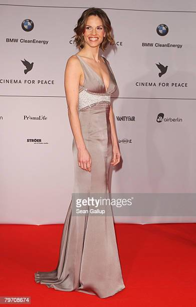 Actress Hilary Swank attends the 7th Annual Cinema For Peace Gala sponsored by BMW CleanEnergy as part of the 58th Berlinale International Film...