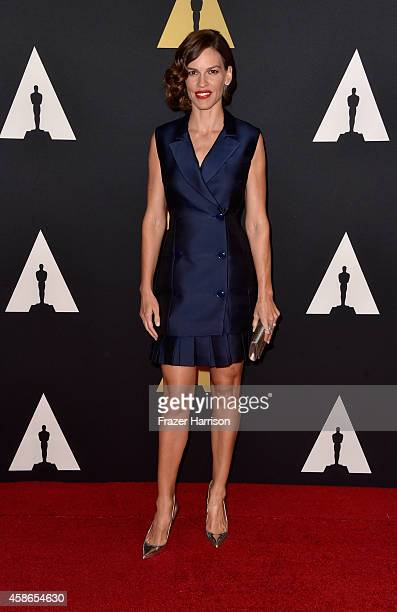 Actress Hilary Swank attends the Academy Of Motion Picture Arts And Sciences' 2014 Governors Awards at The Ray Dolby Ballroom at Hollywood Highland...