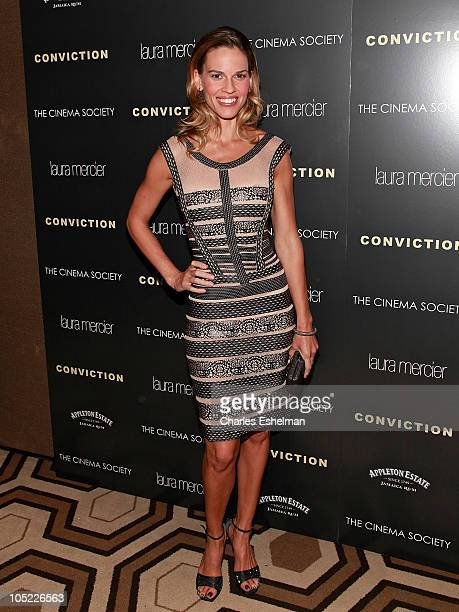 Actress Hilary Swank attends The Cinema Society Laura Mercier screening of Conviction at the Tribeca Grand Hotel on October 12 2010 in New York City