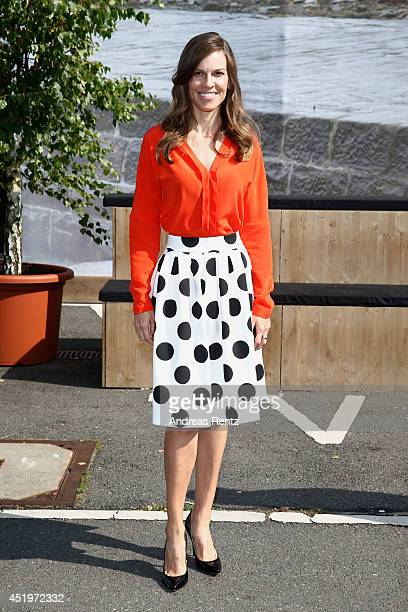 Actress Hilary Swank attends the Marc Cain show during the MercedesBenz Fashion Week Spring/Summer 2015 at Erika Hess Eisstadion on July 10 2014 in...