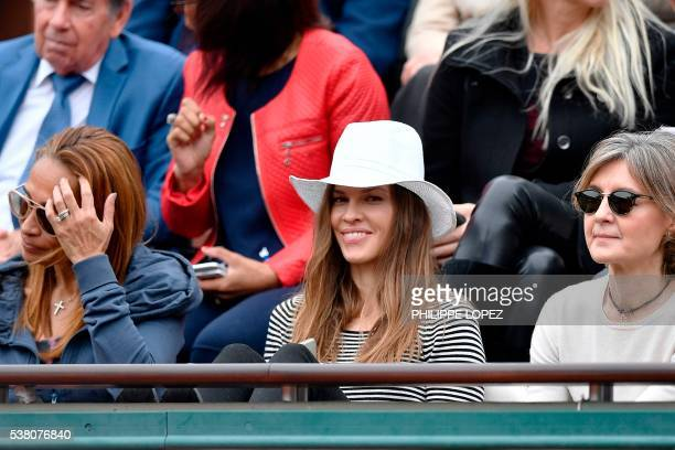 US actress Hilary Swank attends the women's final match between Spain's Garbine Muguruza and the US's Serena Williams at the Roland Garros 2016...